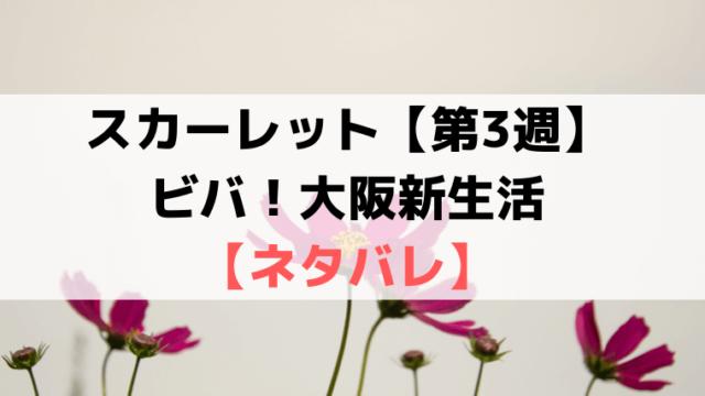 スカーレット第3週【ネタバレ・あらすじ・感想】ビバ!大阪新生活