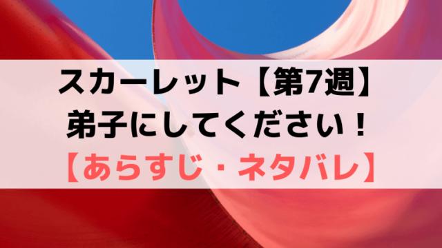 スカーレット第7週【ネタバレ・あらすじ・感想】弟子にしてください!
