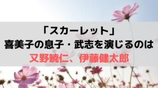 「スカーレット」喜美子の息子・武志を演じる子役、俳優は「又野暁仁」「伊藤健太郎」